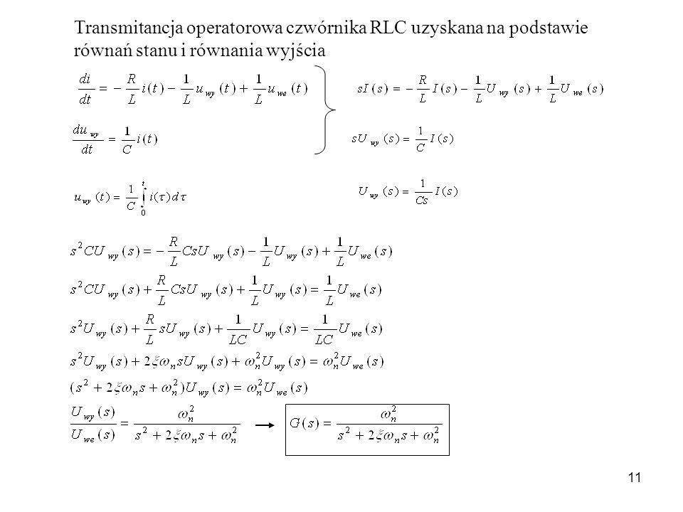 11 Transmitancja operatorowa czwórnika RLC uzyskana na podstawie równań stanu i równania wyjścia