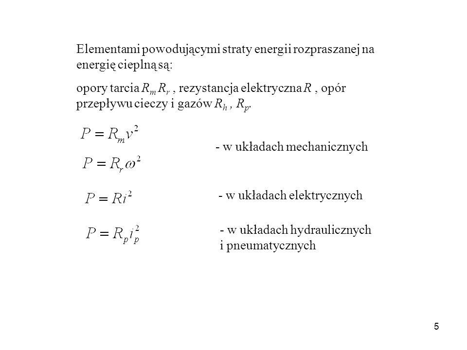 5 Elementami powodującymi straty energii rozpraszanej na energię cieplną są: opory tarcia R m R r, rezystancja elektryczna R, opór przepływu cieczy i