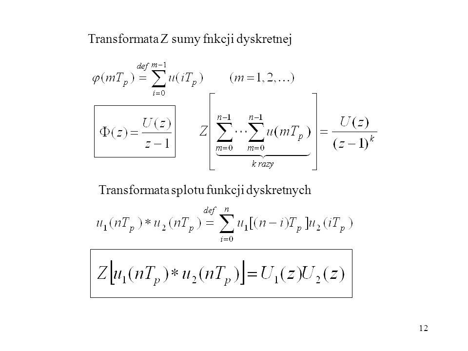 12 Transformata Z sumy fnkcji dyskretnej Transformata splotu funkcji dyskretnych