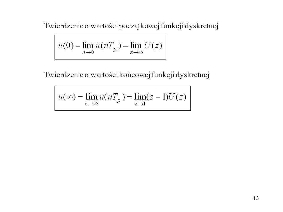 13 Twierdzenie o wartości początkowej funkcji dyskretnej Twierdzenie o wartości końcowej funkcji dyskretnej