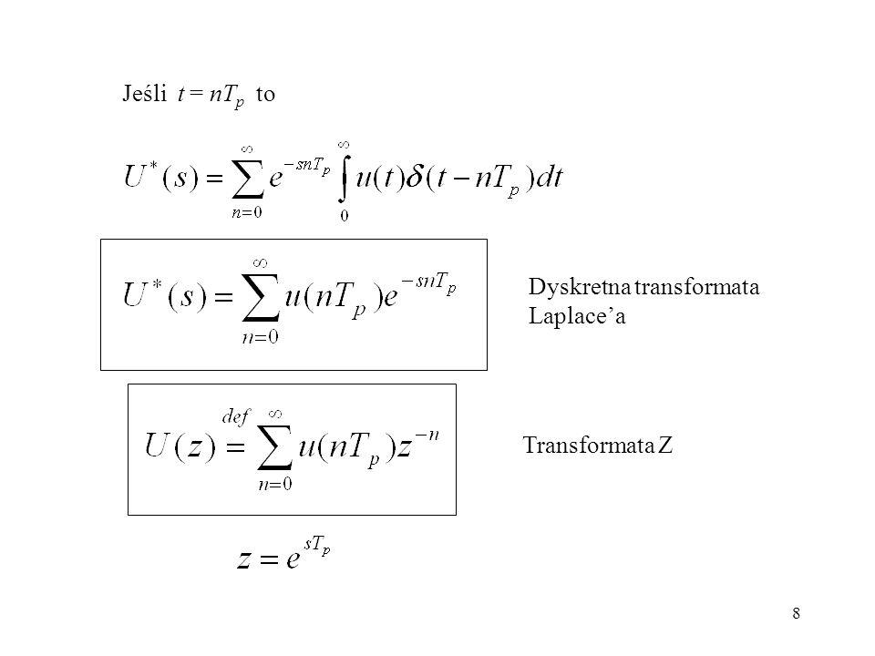 8 Jeśli t = nT p to Dyskretna transformata Laplacea Transformata Z