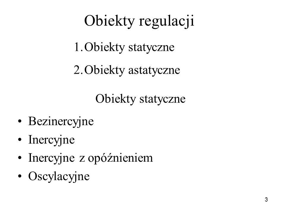 3 Obiekty regulacji Bezinercyjne Inercyjne Inercyjne z opóźnieniem Oscylacyjne 1.Obiekty statyczne 2.Obiekty astatyczne Obiekty statyczne