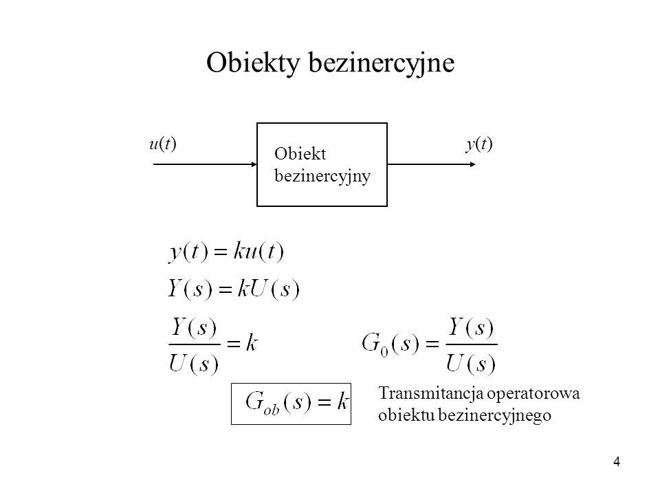 4 Obiekty bezinercyjne Obiekt bezinercyjny u(t)u(t)y(t)y(t) Transmitancja operatorowa obiektu bezinercyjnego