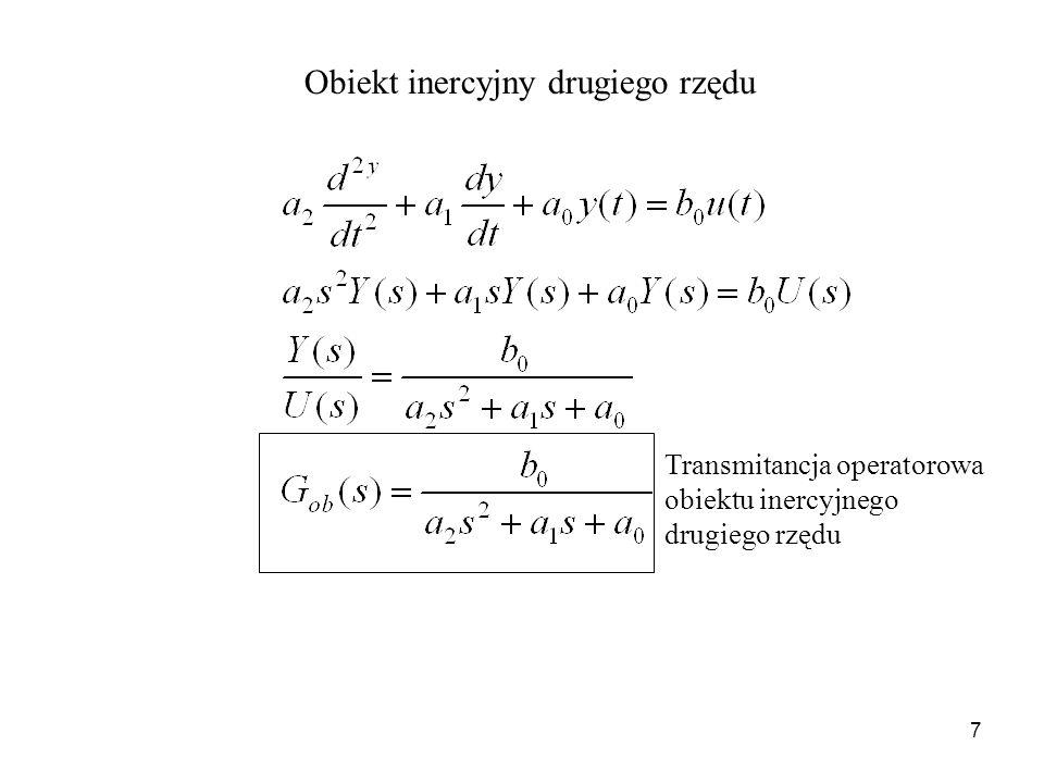 7 Obiekt inercyjny drugiego rzędu Transmitancja operatorowa obiektu inercyjnego drugiego rzędu