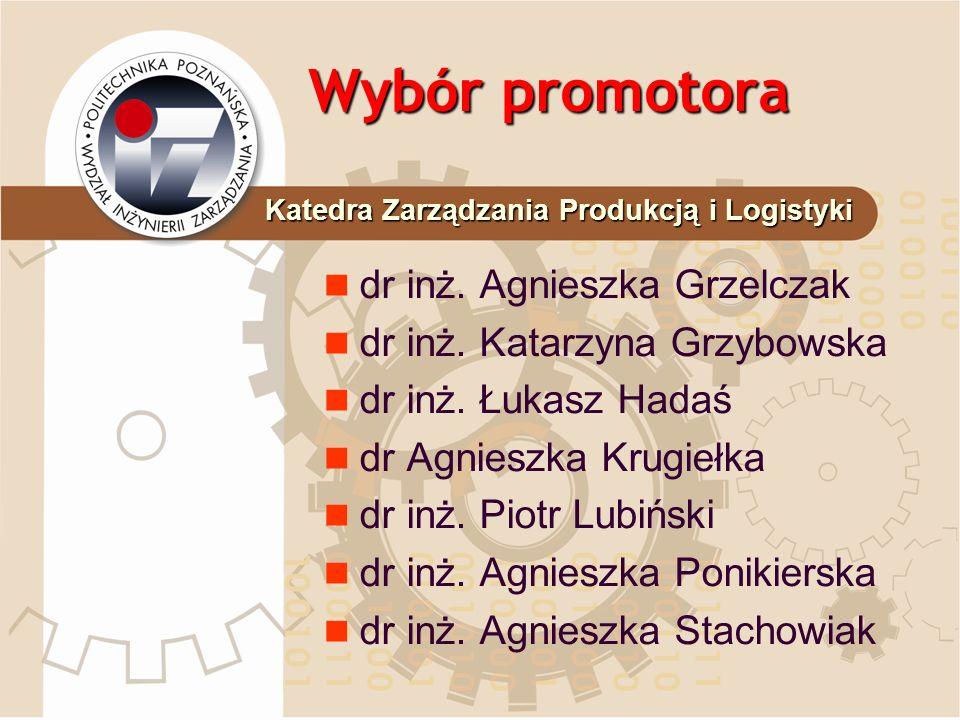 Wybór promotora dr inż. Agnieszka Grzelczak dr inż. Katarzyna Grzybowska dr inż. Łukasz Hadaś dr Agnieszka Krugiełka dr inż. Piotr Lubiński dr inż. Ag