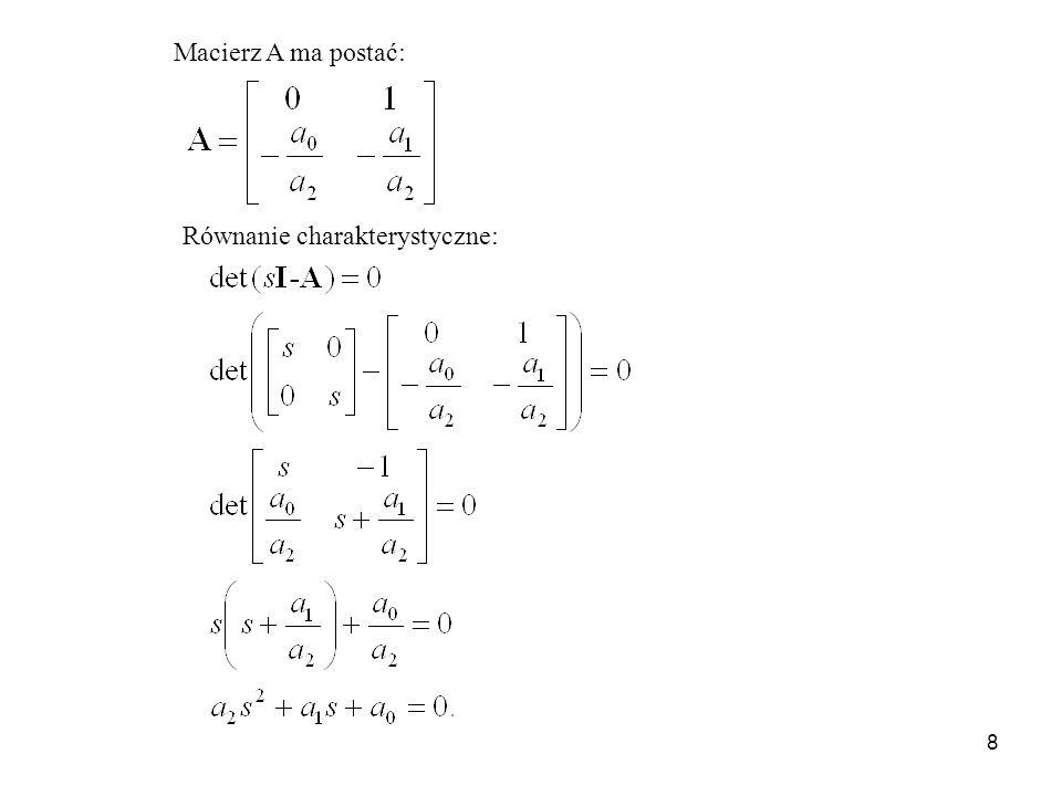8 Macierz A ma postać: Równanie charakterystyczne: