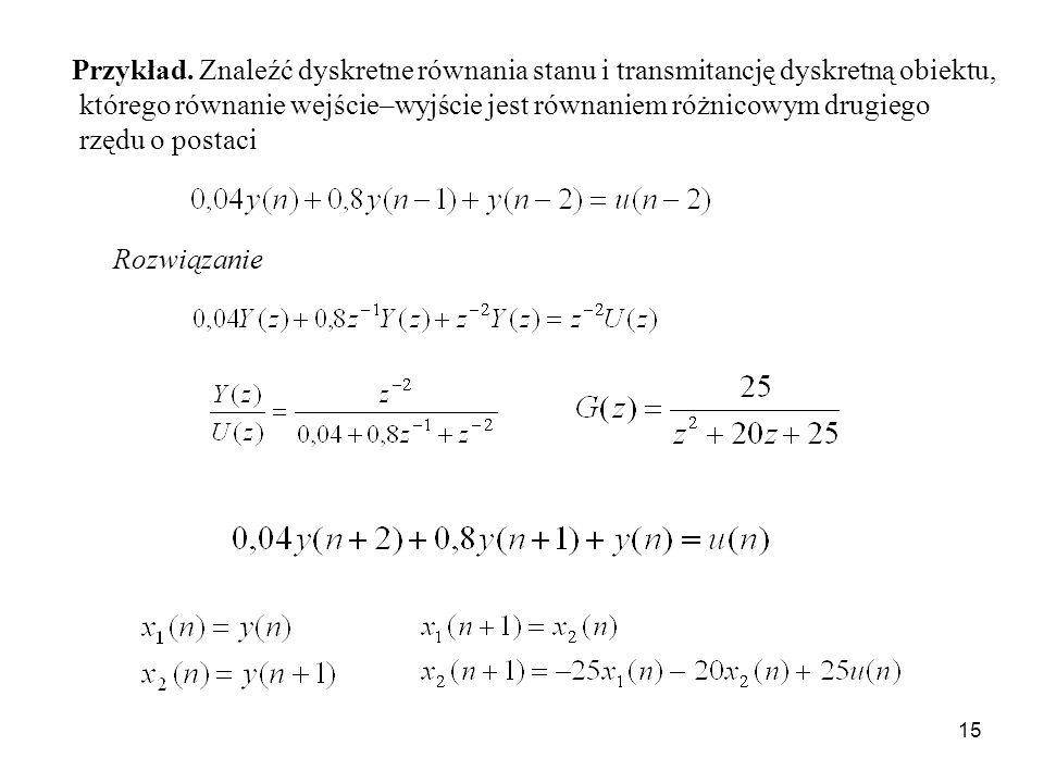 15 Przykład. Znaleźć dyskretne równania stanu i transmitancję dyskretną obiektu, którego równanie wejście–wyjście jest równaniem różnicowym drugiego r