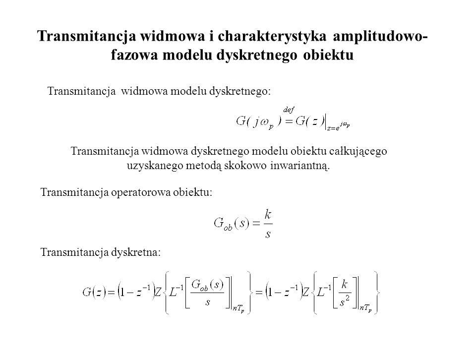 Transmitancja widmowa i charakterystyka amplitudowo- fazowa modelu dyskretnego obiektu Transmitancja widmowa modelu dyskretnego: Transmitancja widmowa