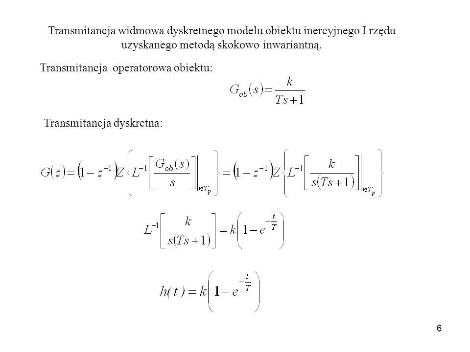 6 Dyskretna transmitancja widmowa (8.1) przy czym Transmitancja operatorowa obiektu: Transmitancja dyskretna: Transmitancja widmowa dyskretnego modelu