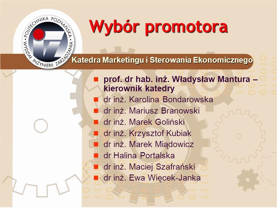Wybór promotora prof. dr hab. inż. Władysław Mantura – kierownik katedry dr inż. Karolina Bondarowska dr inż. Mariusz Branowski dr inż. Marek Goliński