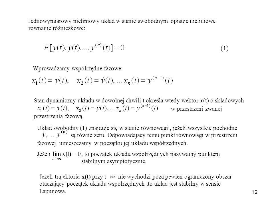 12 Jednowymiarowy nieliniowy układ w stanie swobodnym opisuje nieliniowe równanie różniczkowe: Wprowadzamy współrzędne fazowe: Stan dynamiczny układu