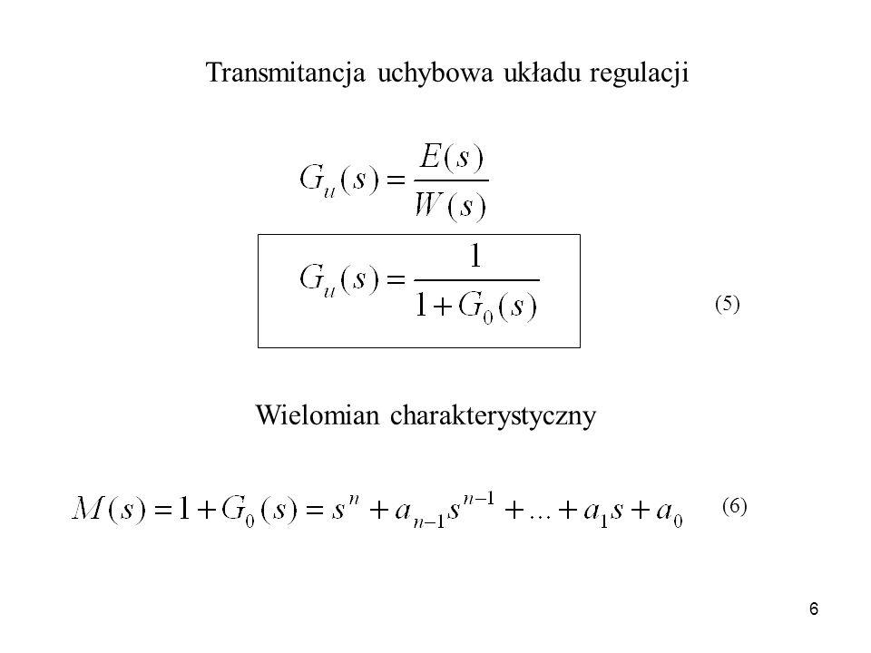 7 Stabilność liniowych układów regulacji automatycznej