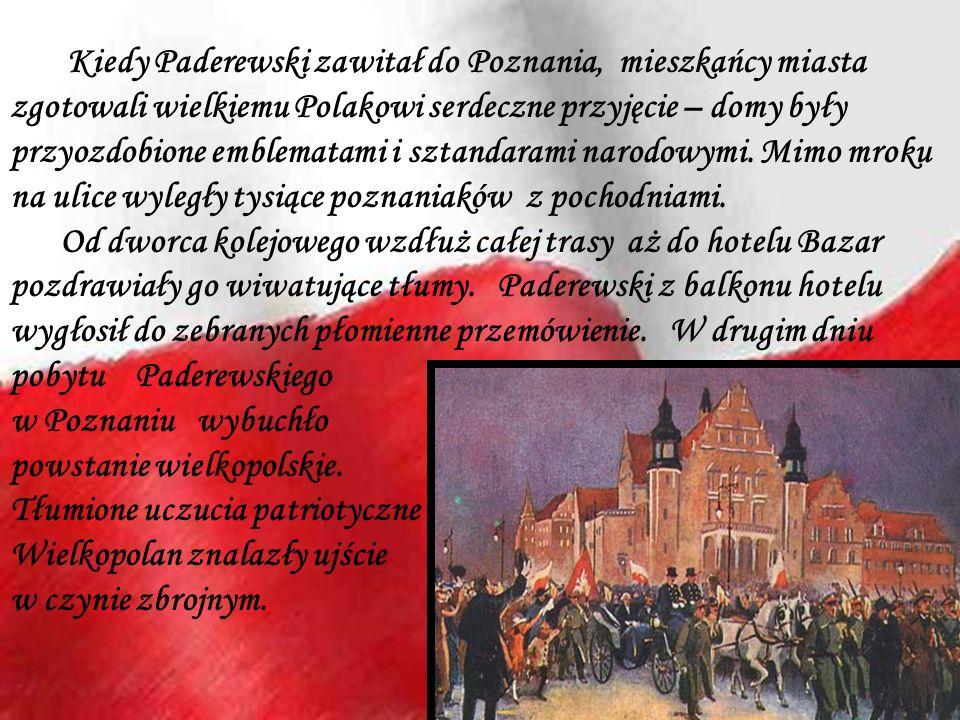 Kiedy Paderewski zawitał do Poznania, mieszkańcy miasta zgotowali wielkiemu Polakowi serdeczne przyjęcie – domy były przyozdobione emblematami i sztan