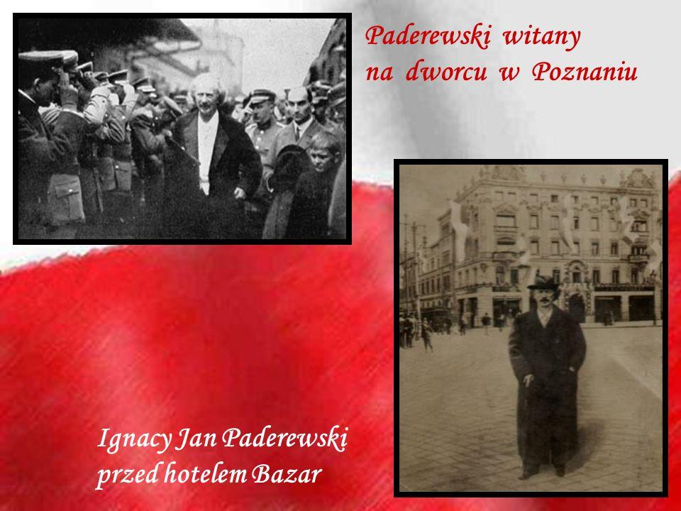 Ignacy Jan Paderewski przed hotelem Bazar Paderewski witany na dworcu w Poznaniu