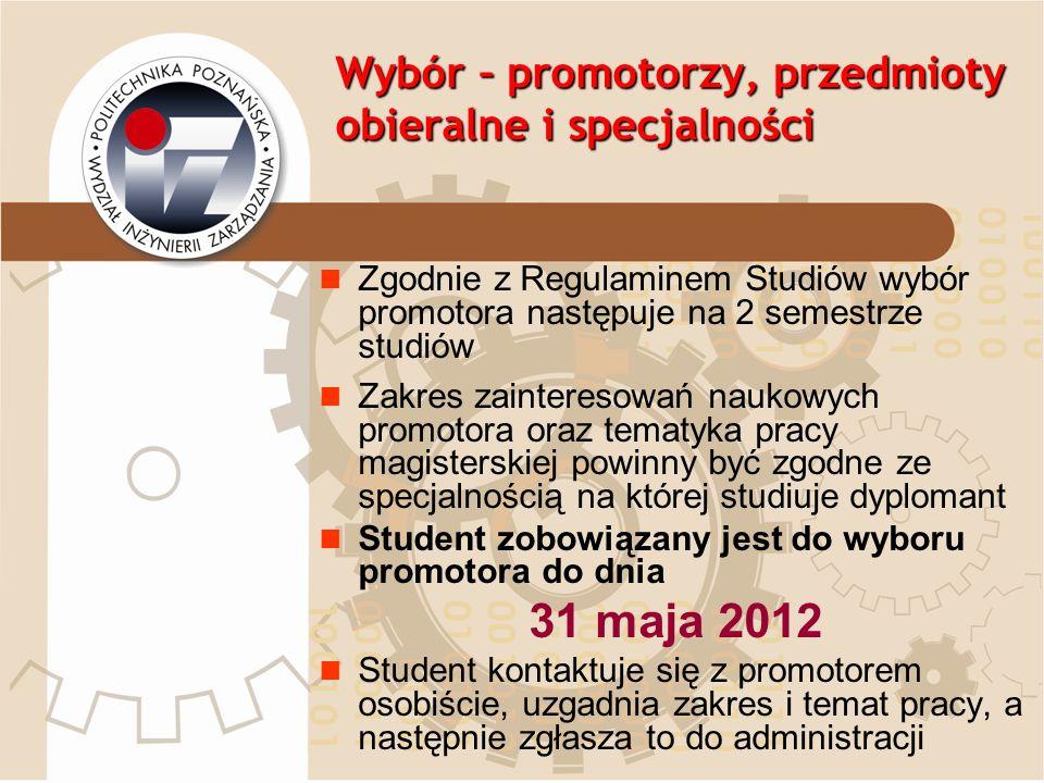 Wybór – promotorzy, przedmioty obieralne i specjalności Proszę zgłaszać wybór promotora do Pani: Joanna Szypulska ul.