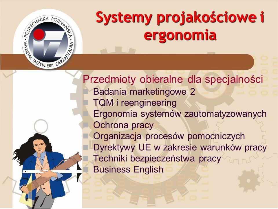 Systemy projakościowe i ergonomia Przedmioty obieralne dla specjalności Badania marketingowe 2 TQM i reengineering Ergonomia systemów zautomatyzowanyc