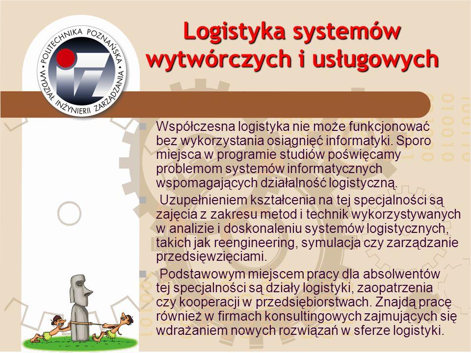 Logistyka systemów wytwórczych i usługowych Współczesna logistyka nie może funkcjonować bez wykorzystania osiągnięć informatyki. Sporo miejsca w progr