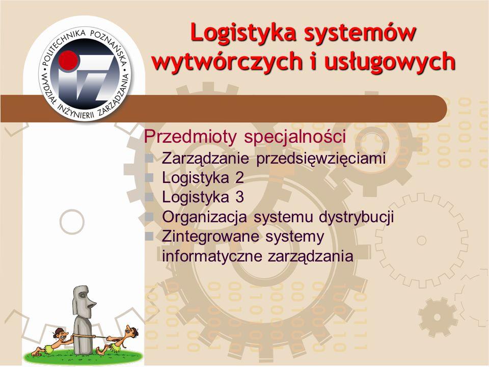Logistyka systemów wytwórczych i usługowych Przedmioty specjalności Zarządzanie przedsięwzięciami Logistyka 2 Logistyka 3 Organizacja systemu dystrybu