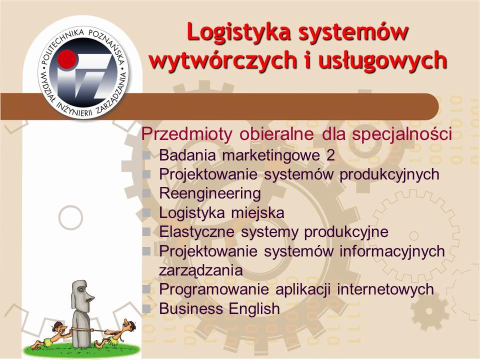 Logistyka systemów wytwórczych i usługowych Przedmioty obieralne dla specjalności Badania marketingowe 2 Projektowanie systemów produkcyjnych Reengine