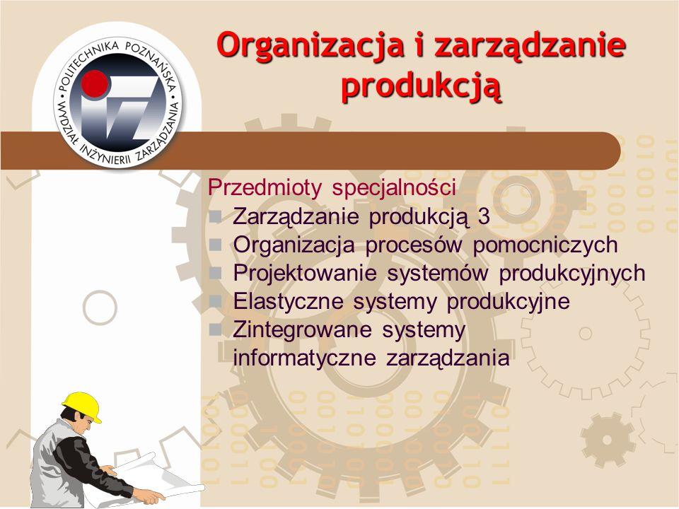 Organizacja i zarządzanie produkcją Przedmioty specjalności Zarządzanie produkcją 3 Organizacja procesów pomocniczych Projektowanie systemów produkcyj