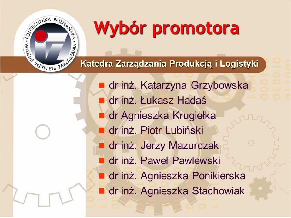 Wybór promotora dr inż. Katarzyna Grzybowska dr inż. Łukasz Hadaś dr Agnieszka Krugiełka dr inż. Piotr Lubiński dr inż. Jerzy Mazurczak dr inż. Paweł