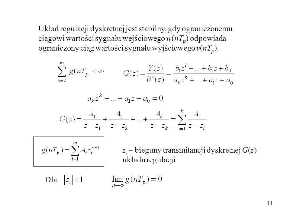 11 Układ regulacji dyskretnej jest stabilny, gdy ograniczonemu ciągowi wartości sygnału wejściowego w(nT p ) odpowiada ograniczony ciąg wartości sygnału wyjściowego y(nT p ).