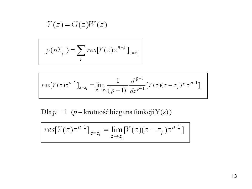 13 Dla p = 1 (p – krotność bieguna funkcji Y(z) )