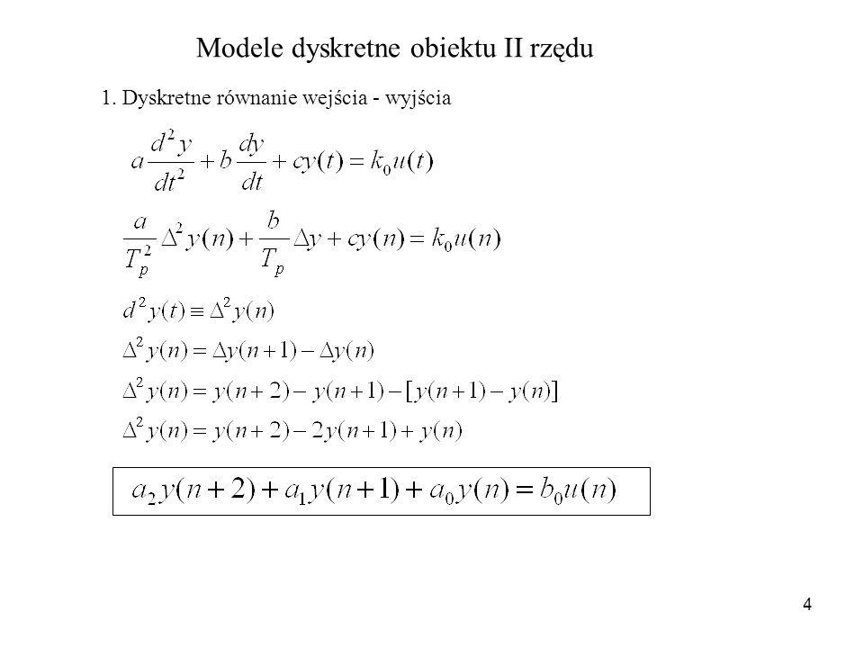 4 Modele dyskretne obiektu II rzędu 1. Dyskretne równanie wejścia - wyjścia