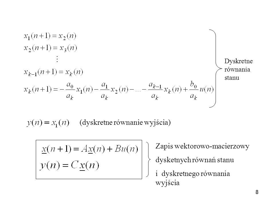 8 (dyskretne równanie wyjścia) Zapis wektorowo-macierzowy dysketnych równań stanu i dyskretnego równania wyjścia Dyskretne równania stanu