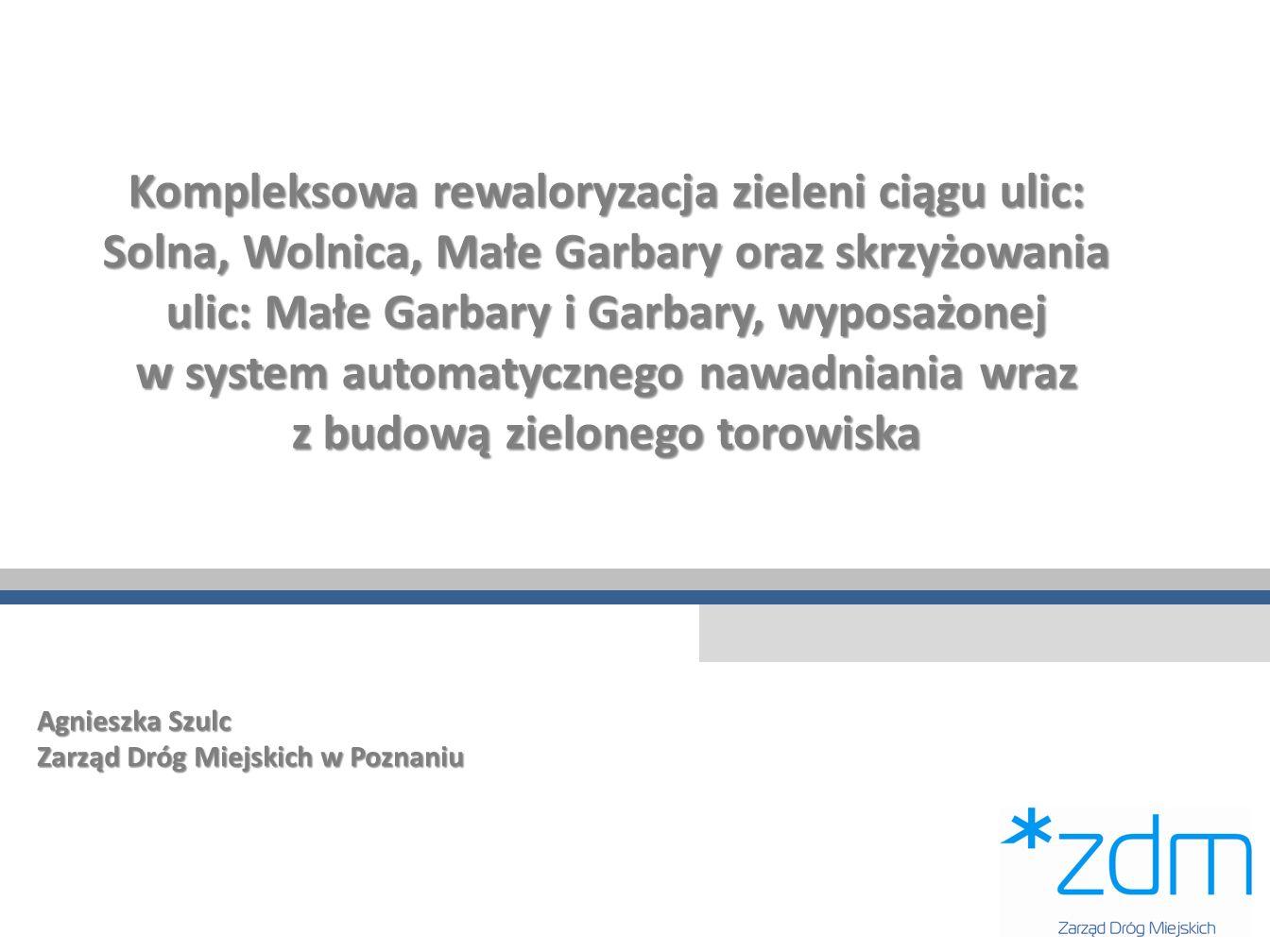 Kompleksowa rewaloryzacja zieleni ciągu ulic: Solna, Wolnica, Małe Garbary oraz skrzyżowania ulic: Małe Garbary i Garbary, wyposażonej w system automa