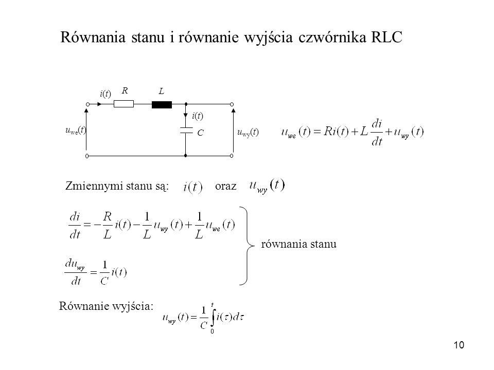 10 Równania stanu i równanie wyjścia czwórnika RLC Zmiennymi stanu są:oraz równania stanu Równanie wyjścia: C u we (t) u wy (t) i(t)i(t) i(t)i(t) R L
