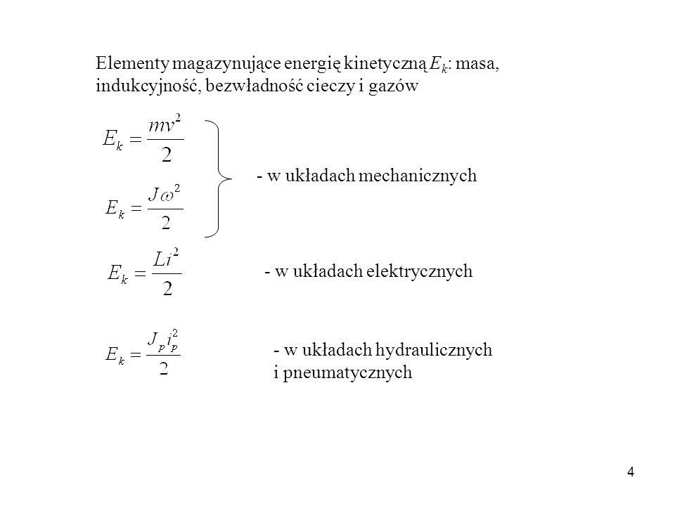 4 Elementy magazynujące energię kinetyczną E k : masa, indukcyjność, bezwładność cieczy i gazów - w układach mechanicznych - w układach elektrycznych