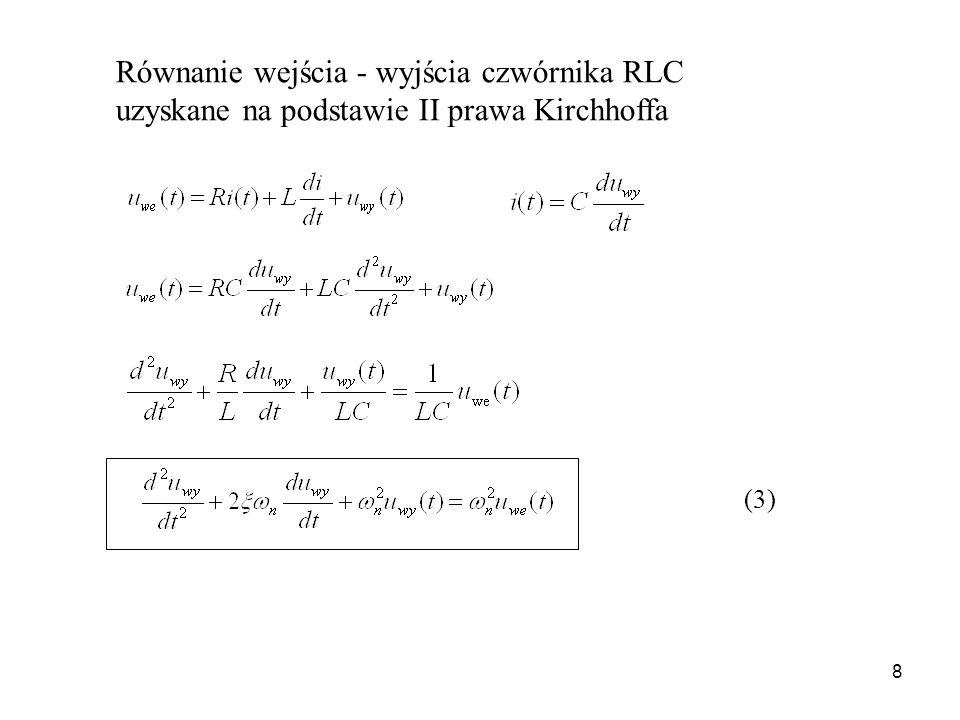 8 (3) Równanie wejścia - wyjścia czwórnika RLC uzyskane na podstawie II prawa Kirchhoffa