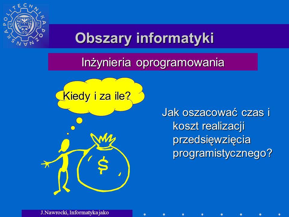 J.Nawrocki, Informatyka jako dziedzina wiedzy Obszary informatyki Jak oszacować czas i koszt realizacji przedsięwzięcia programistycznego.