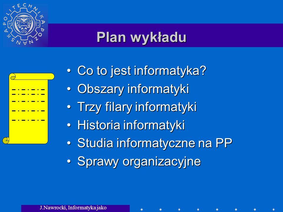 J.Nawrocki, Informatyka jako dziedzina wiedzy Plan wykładu Co to jest informatyka?Co to jest informatyka.