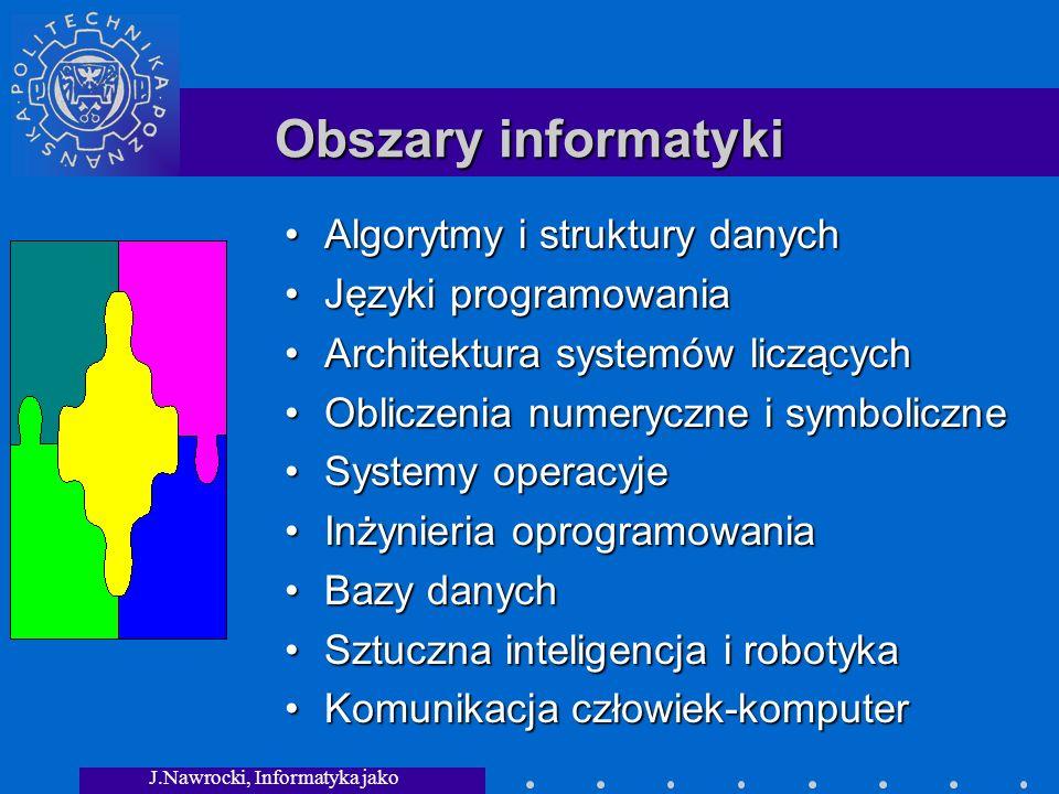 J.Nawrocki, Informatyka jako dziedzina wiedzy Obszary informatyki Algorytmy i struktury danych Języki programowania Architektura systemów liczących Obliczenia numeryczne i symboliczne Systemy operacyje Inżynieria oprogramowania Bazy danych Sztuczna inteligencja i robotyka Komunikacja człowiek-komputer