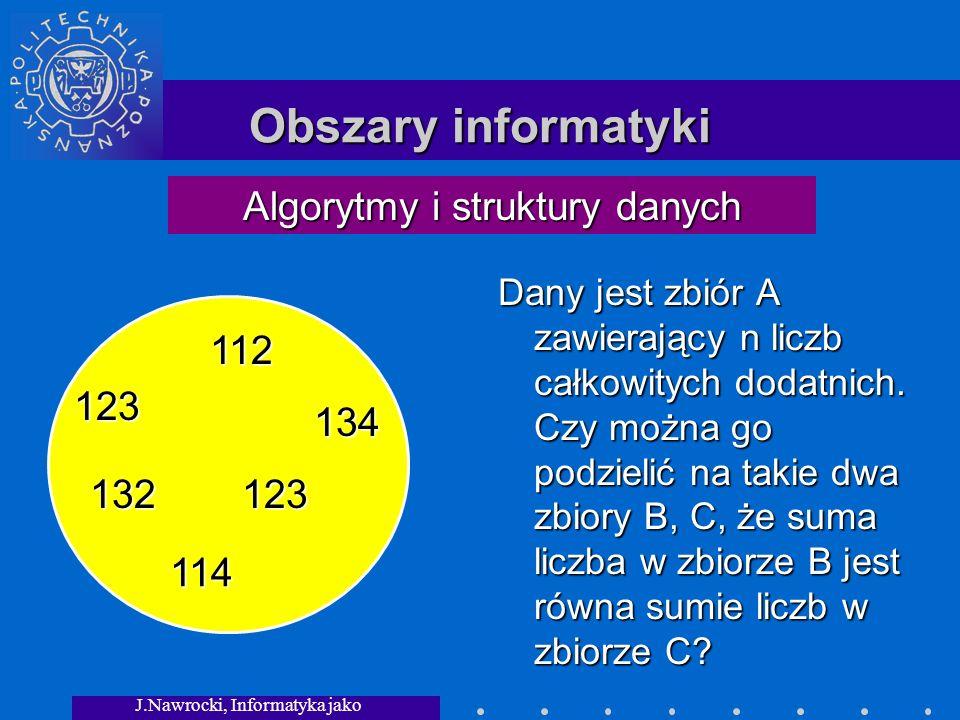 J.Nawrocki, Informatyka jako dziedzina wiedzy Obszary informatyki Dany jest zbiór A zawierający n liczb całkowitych dodatnich.