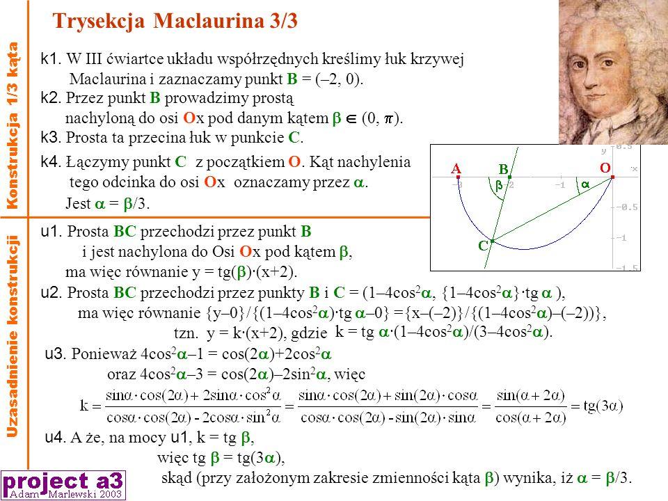 Trysekcja Maclaurina 3/3 Konstrukcja 1/3 kąta k1.