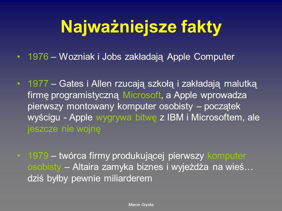 Marcin Gryska Najważniejsze fakty 1976 – Wozniak i Jobs zakładają Apple Computer 1977 – Gates i Allen rzucają szkołą i zakładają malutką firmę program