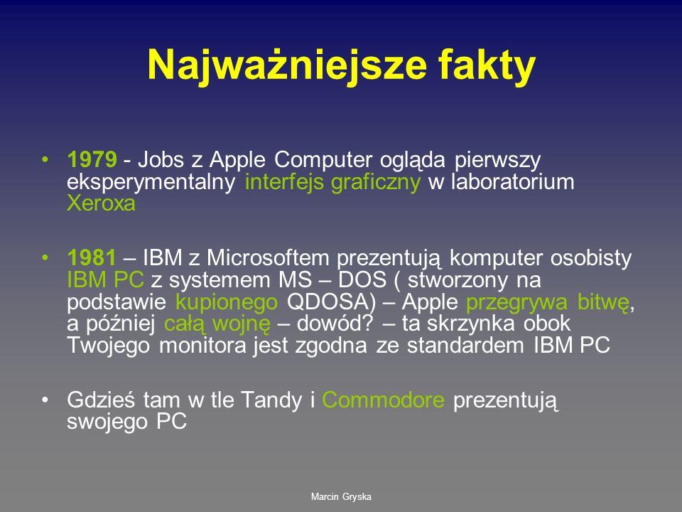 Marcin Gryska Najważniejsze fakty 1979 - Jobs z Apple Computer ogląda pierwszy eksperymentalny interfejs graficzny w laboratorium Xeroxa 1981 – IBM z