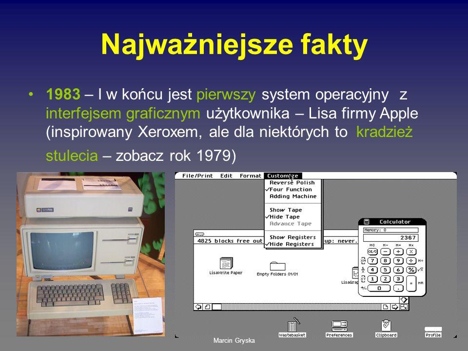 Marcin Gryska Najważniejsze fakty 1983 – I w końcu jest pierwszy system operacyjny z interfejsem graficznym użytkownika – Lisa firmy Apple (inspirowan