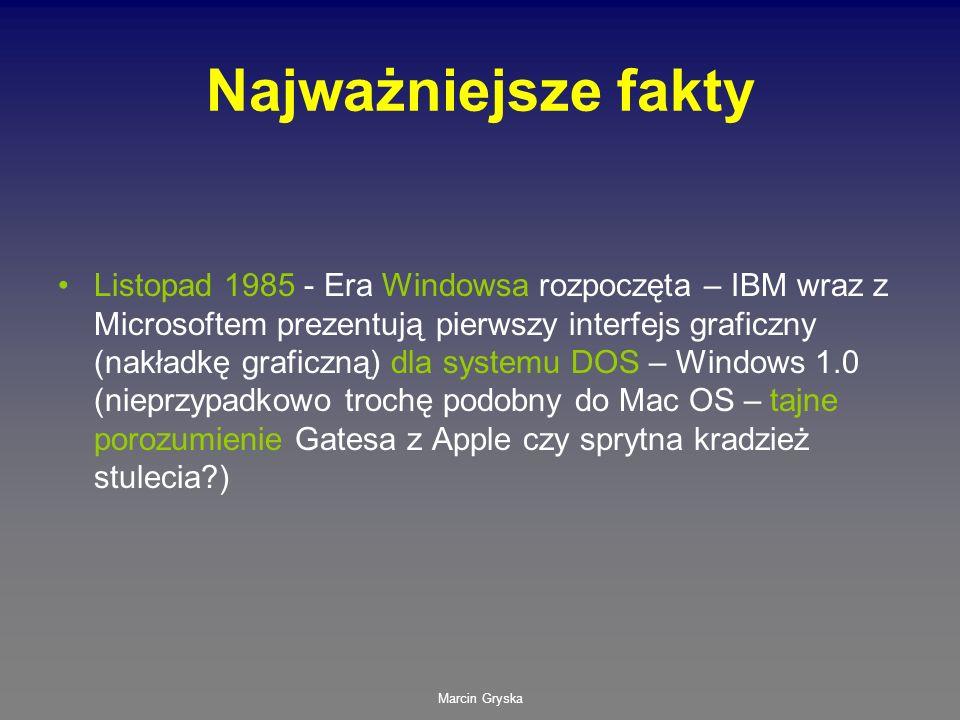 Marcin Gryska Najważniejsze fakty Listopad 1985 - Era Windowsa rozpoczęta – IBM wraz z Microsoftem prezentują pierwszy interfejs graficzny (nakładkę g