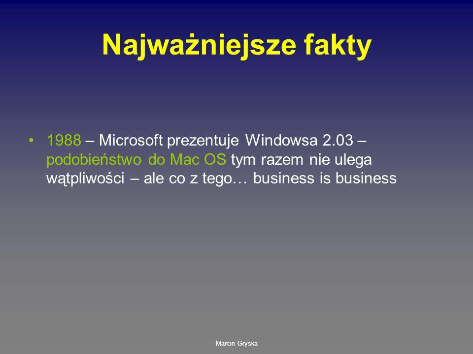 Marcin Gryska Najważniejsze fakty 1988 – Microsoft prezentuje Windowsa 2.03 – podobieństwo do Mac OS tym razem nie ulega wątpliwości – ale co z tego…