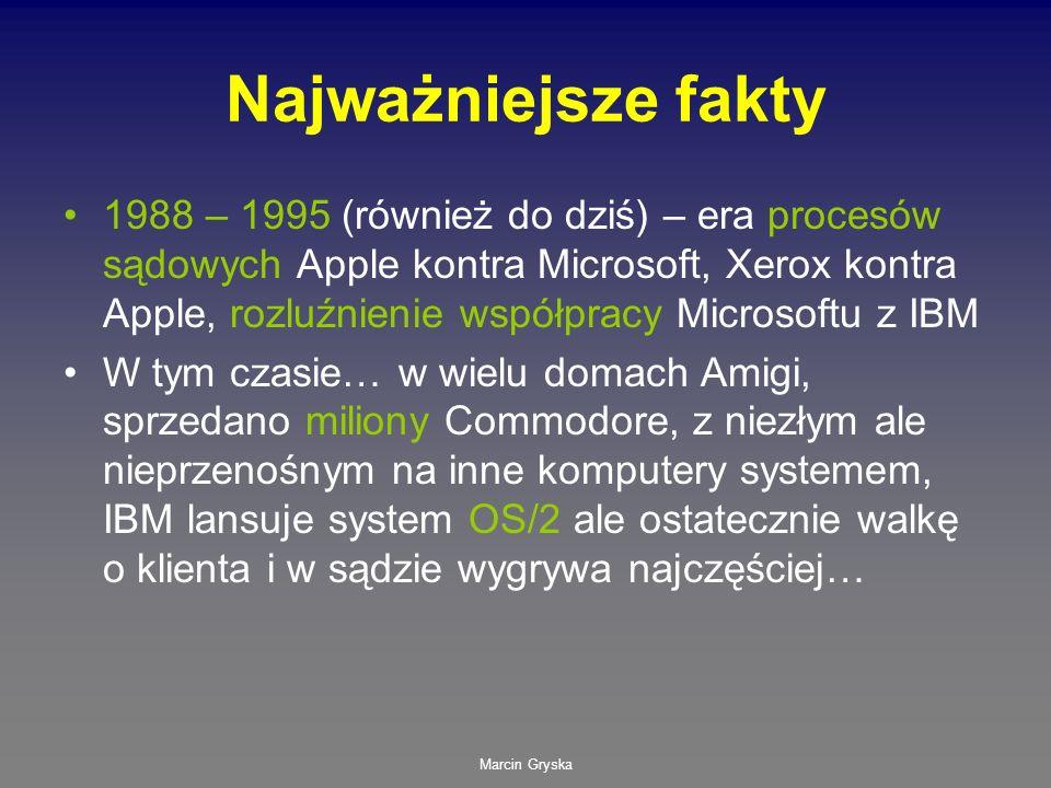 Marcin Gryska Najważniejsze fakty 1988 – 1995 (również do dziś) – era procesów sądowych Apple kontra Microsoft, Xerox kontra Apple, rozluźnienie współ