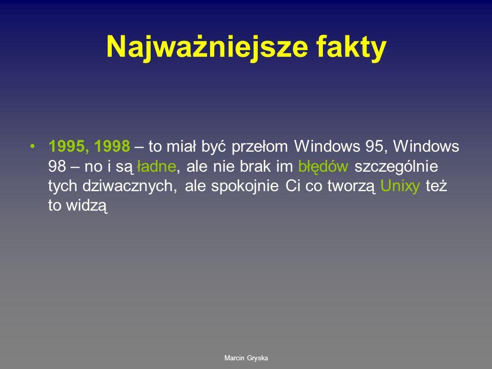 Marcin Gryska Najważniejsze fakty 1995, 1998 – to miał być przełom Windows 95, Windows 98 – no i są ładne, ale nie brak im błędów szczególnie tych dzi