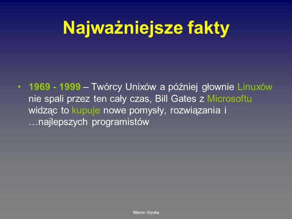 Marcin Gryska Najważniejsze fakty 1969 - 1999 – Twórcy Unixów a później głownie Linuxów nie spali przez ten cały czas, Bill Gates z Microsoftu widząc