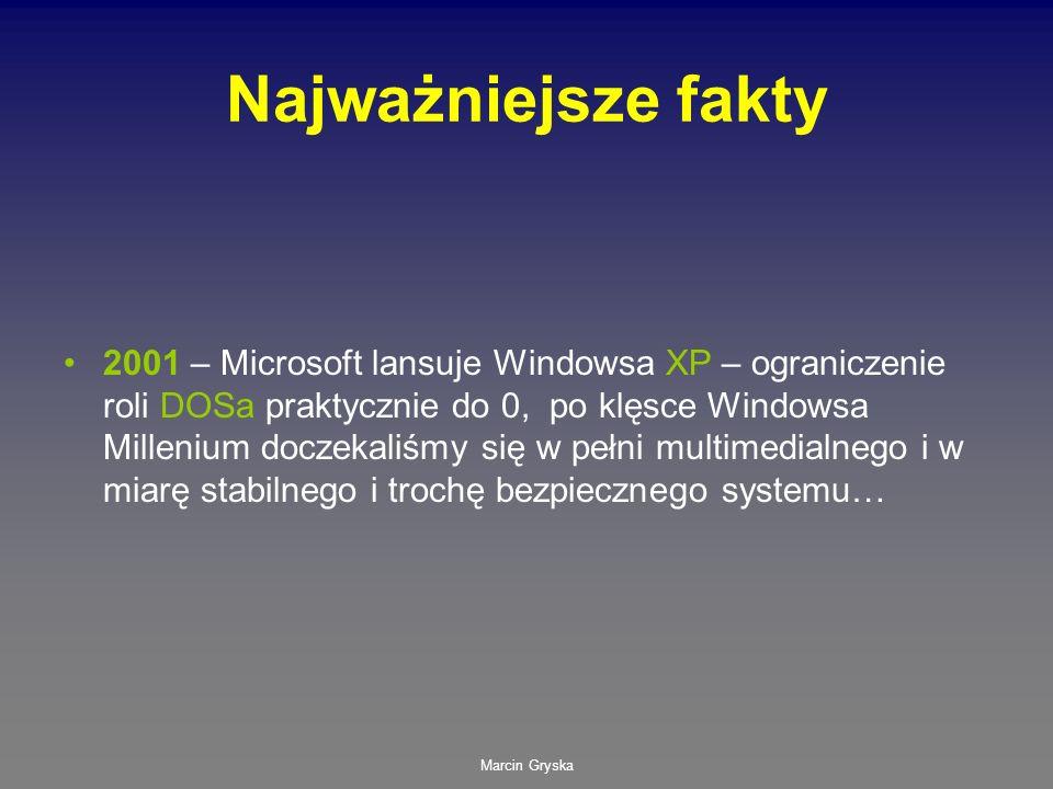 Marcin Gryska Najważniejsze fakty 2001 – Microsoft lansuje Windowsa XP – ograniczenie roli DOSa praktycznie do 0, po klęsce Windowsa Millenium doczeka