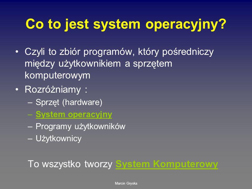 Marcin Gryska Co to jest system operacyjny? Czyli to zbiór programów, który pośredniczy między użytkownikiem a sprzętem komputerowym Rozróżniamy : –Sp