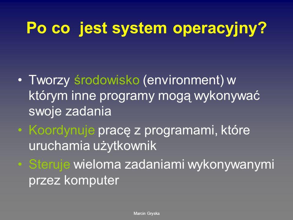 Marcin Gryska Po co jest system operacyjny? Tworzy środowisko (environment) w którym inne programy mogą wykonywać swoje zadania Koordynuje pracę z pro