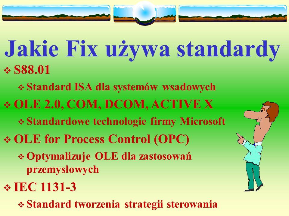 Opracowywanie systemu FIX Zalecana kolejność faz wykonania aplikacji: Zbieranie danych Zbieranie danych konfigurowanie drajwerów We/Wy, konfigurowanie drajwerów We/Wy, tworzenie bazy danych, tworzenie bazy danych, użycie konstruktora receptur, użycie konstruktora receptur, Zarządzanie danymi Zarządzanie danymi tworzenie markopoleceń, tworzenie markopoleceń, użycie skryptów języka poleceń, użycie skryptów języka poleceń, zbieranie danych historycznych zbieranie danych historycznych Prezentacja danych Prezentacja danych tworzenie ekranów synoptycznych i wykresów, tworzenie ekranów synoptycznych i wykresów, generowanie raportów.